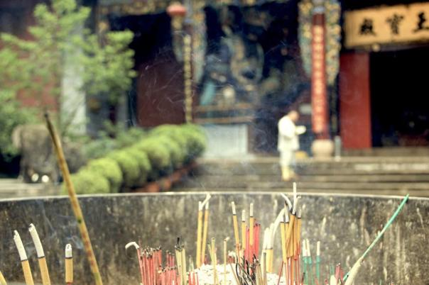 Incense burning at a temple in Kunming, China.