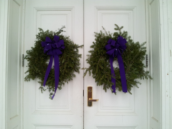 Wreaths on the door of Miller Chapel.