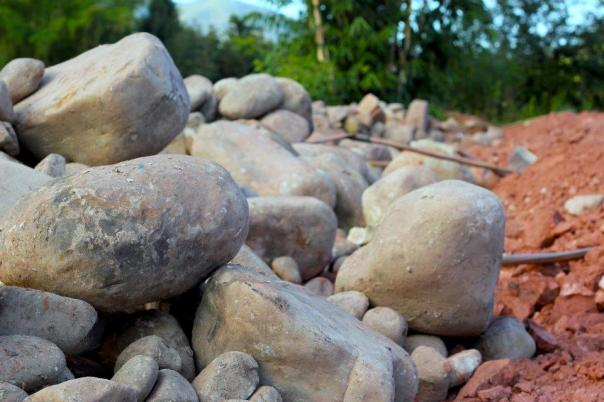 Stones for the foundation of a church in Yunnan, China.