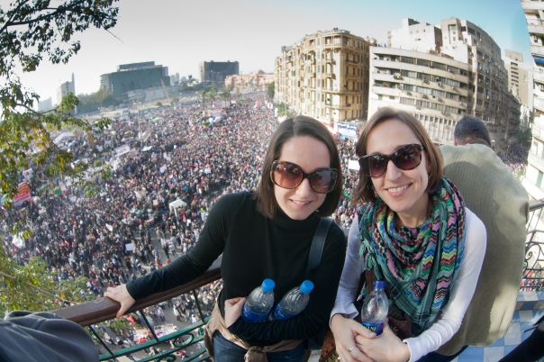 My friend, Emily, and I above Tahrir Square on the anniversary of the Egyptian Revolution this past January.  Photo by Ben Robinson.