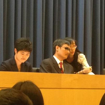 My Chinese teacher translating for Chen Guangcheng at Princeton University yesterday afternoon.
