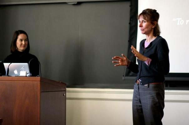 Being introduced this fall by my professor at the university for a presentation.  Photo by Evan Schneider.