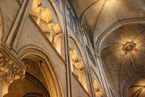 The view inside Notre Dame.