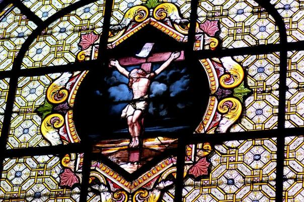 Stained glass in Saint Sulpice, Paris, France.