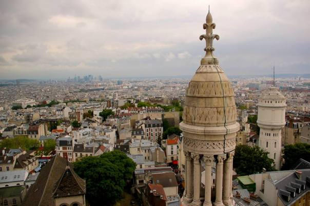 View of the city from the dome of Sacre Coeur, Paris.