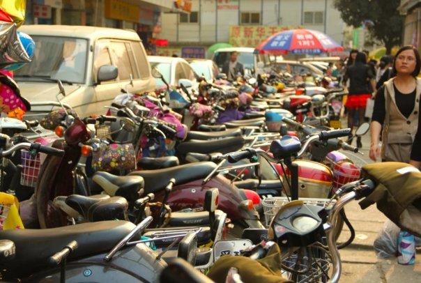 E-bikes in Nanning, China.  Photo by Evan Schneider.