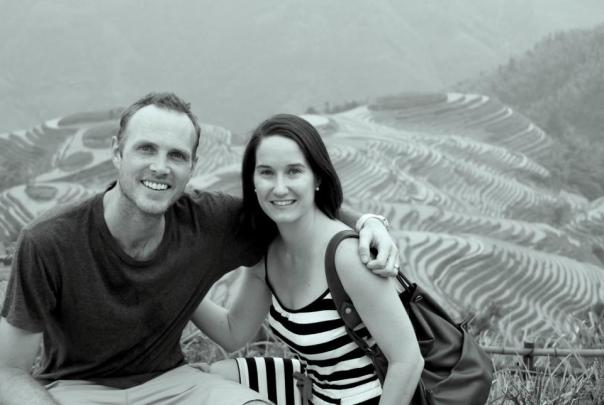 In front of the dragon's neck rice terraces, Guangxi, China. Photo by Kelly Raffety.