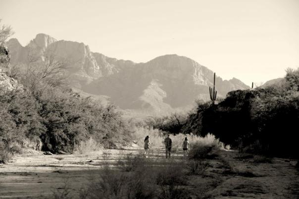 My family and I walking in a wash in Arizona.  Photo by Evan Schneider.