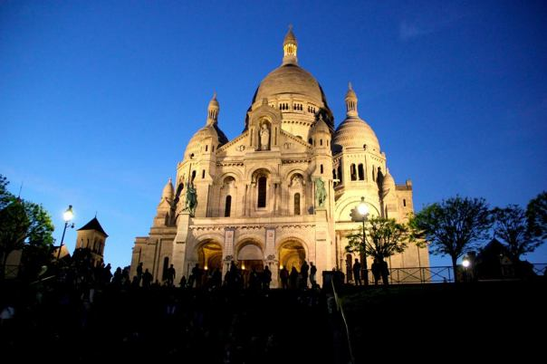Sacre Coeur at night.  Paris, France.  Photo by Evan Schneider.
