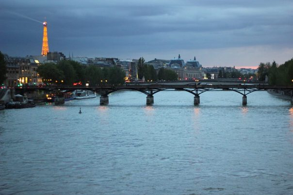 The River Seine at night.  Photo by Schneider.