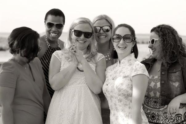 A photo so full of joy.  Bridal party at my friend's wedding on Chesapeake Bay.  Photo by Evan Schneider.