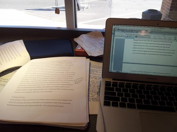 One of my last dissertating sessions.  My photo.